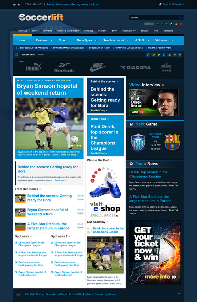 Joomla шаблон BonusThemes Soccerlift