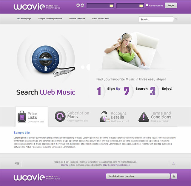 Joomla шаблон BonusThemes Woovie